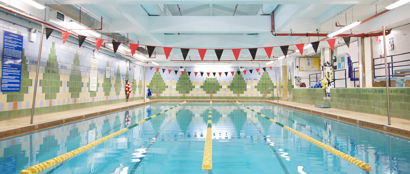Indoor pool at the Bed Stuy YMCA