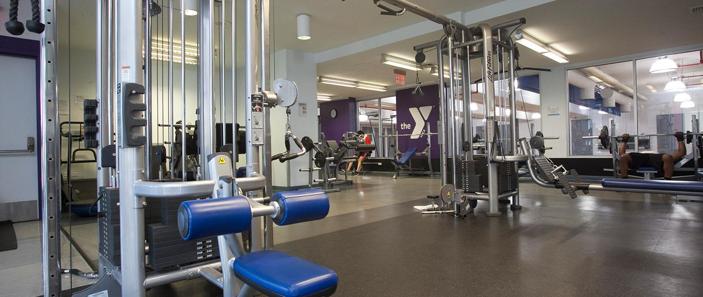 Strength training equipment and weights at Dodge YMCA in Brooklyn