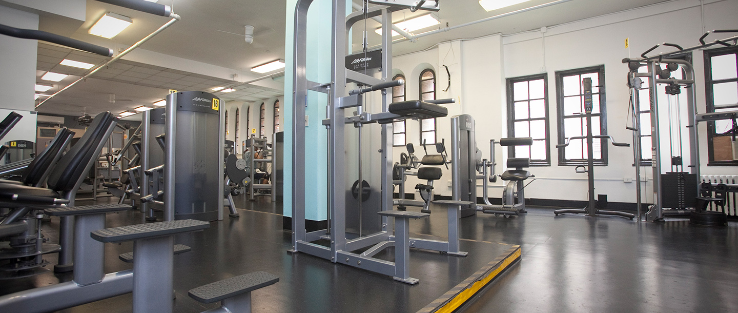 Training machines and equipment at the gym at West Side YMCA