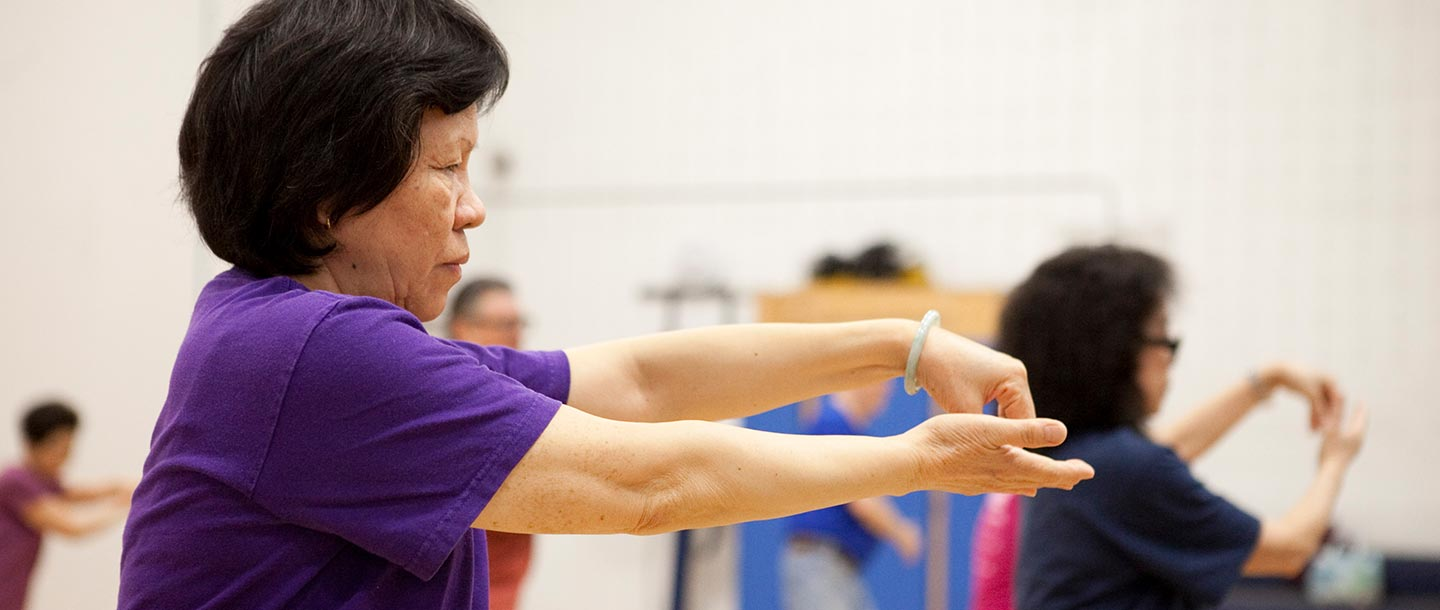 Seniors work out at YMCA group fitness class