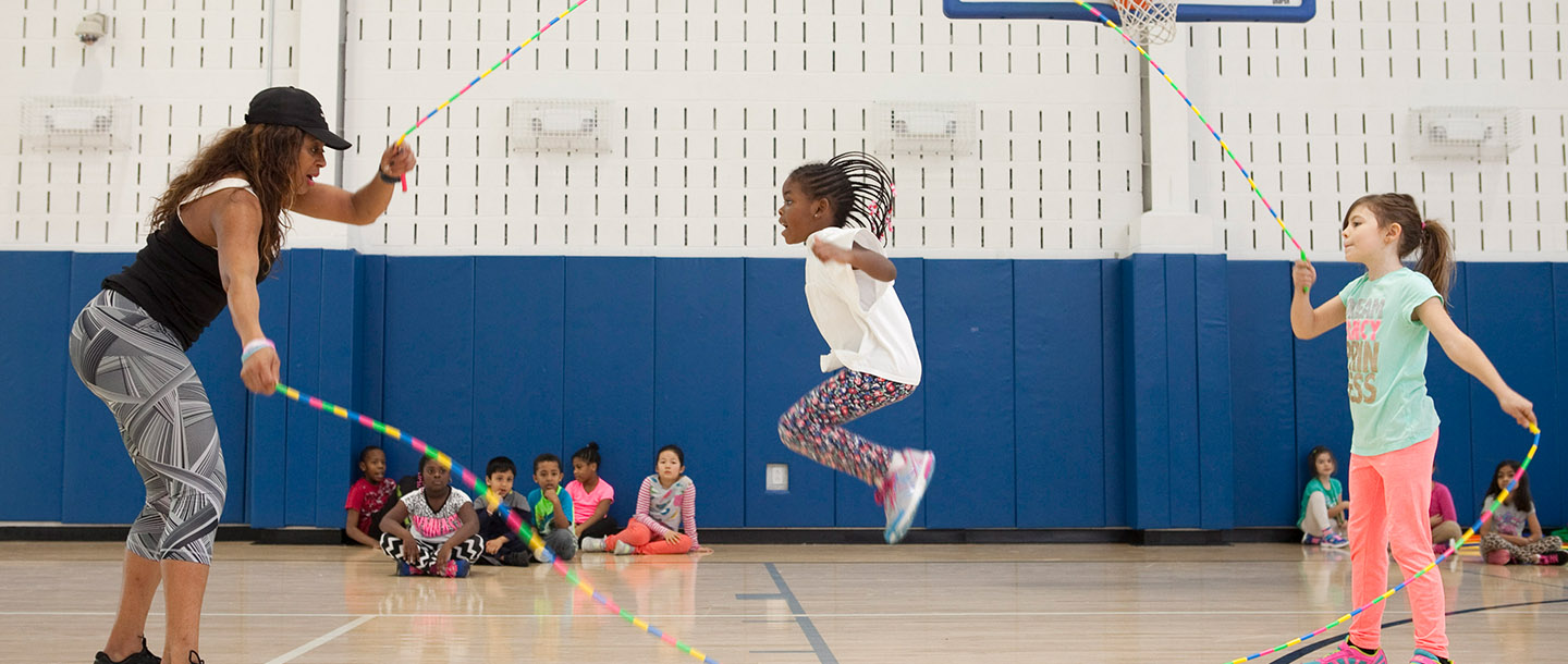 Youth sports jump roping class at YMCA