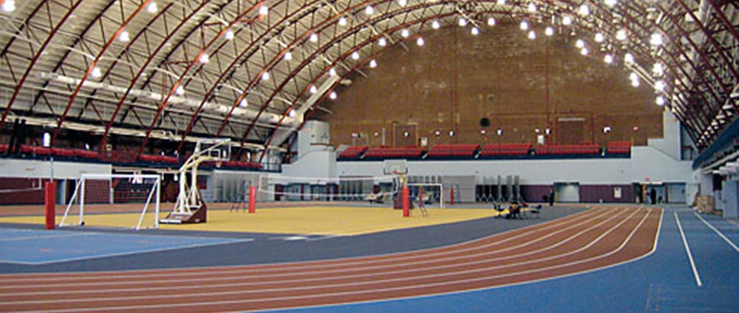 Gymnasium and track at the Park Slope Armory YMCA.