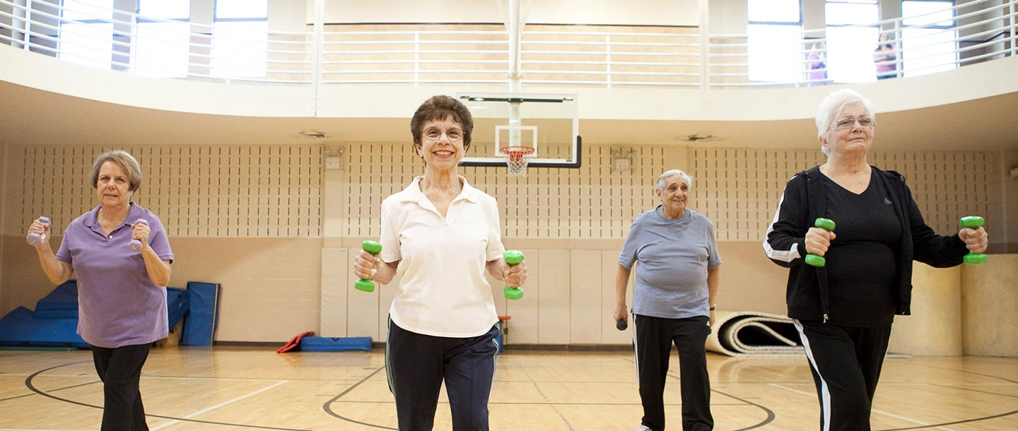 Seniors in a fitness class at the Broadway YMCA in Staten Island.