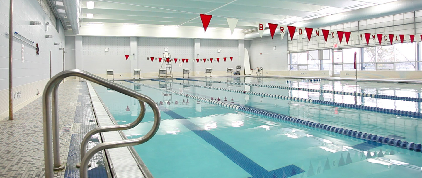 Indoor pool at Bronx YMCA.