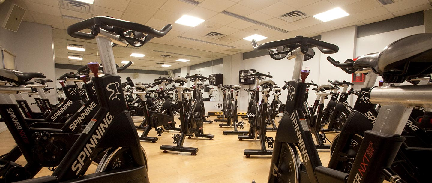 State-of-the-art spin studio at the Dodge YMCA.