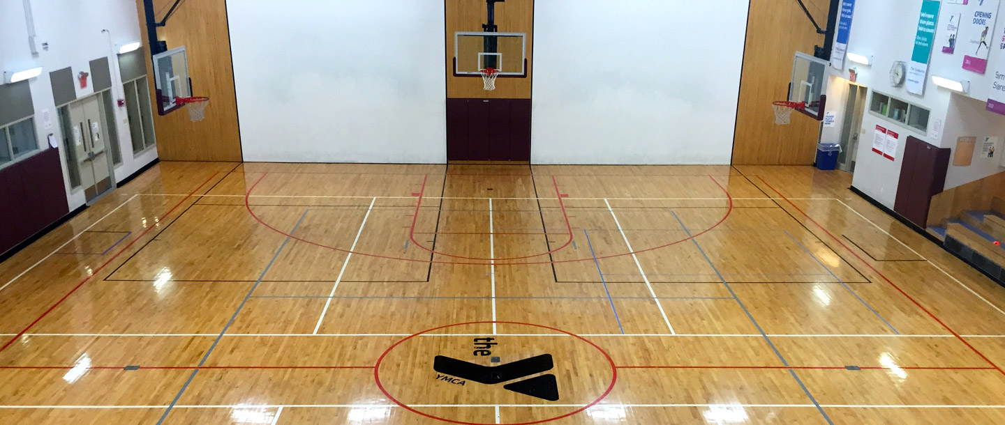 Basketball court/gymnasium at the McBurney YMCA.