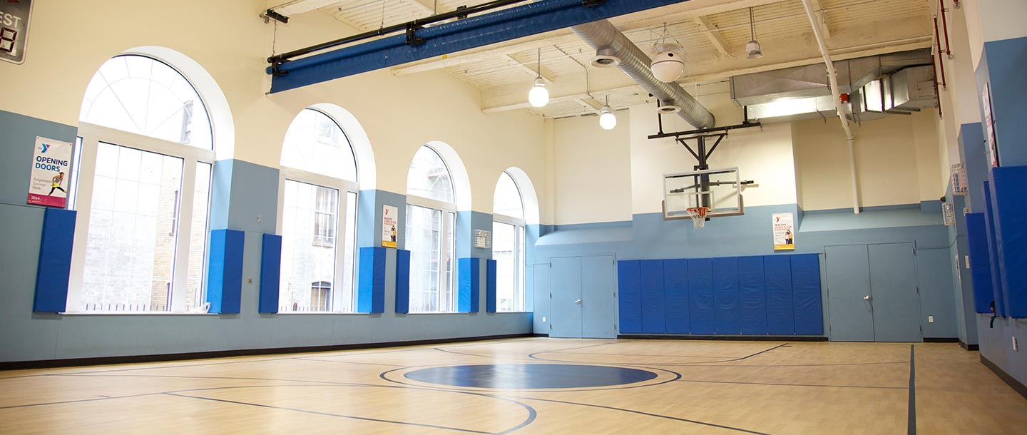 Gymnasium and basketball court at the Ridgewood YMCA.