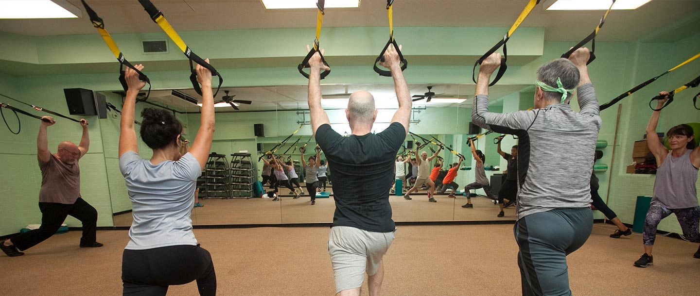 Group TRX fitness class at YMCA