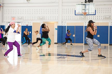 Group fitness class at the Rockaway YMCA in Queens