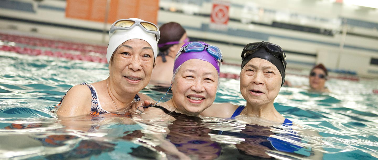 Three women in the pool at the YMCA.