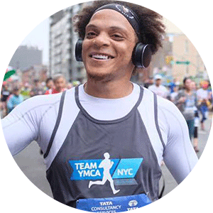 Runner for Team YMCA during NYC Marathon