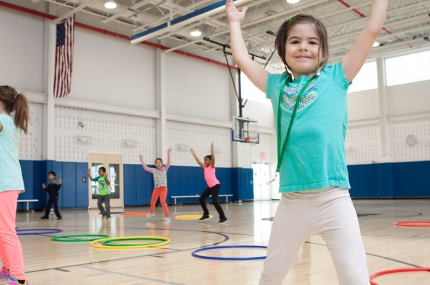 Cheerleading class for kids at the YMCA