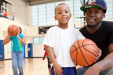 Basketball for families at the YMCA