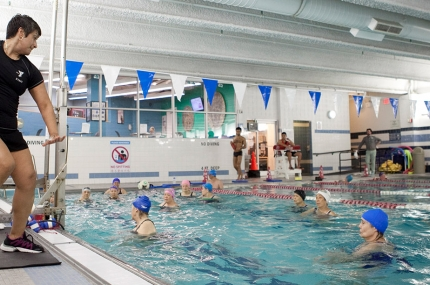 Water exercise class at the YMCA in Manhattan