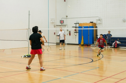 Members playing badminton
