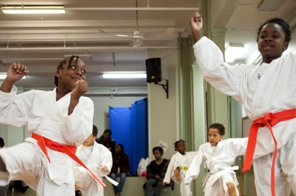 Kids in karate class at Harlem YMCA