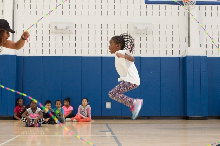 Kids jumping rope in YMCA sports class for kids