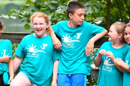 Group of children at YMCA outdoor day camp in Staten Island
