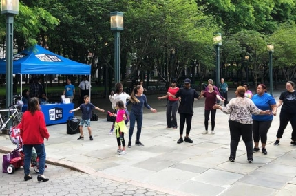 Zumba class led by the Dodge YMCA instructors in downtown Brooklyn at MetroTech
