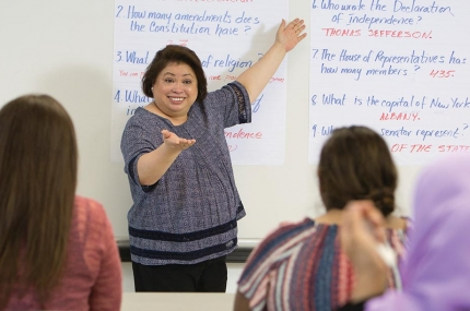 YMCA instructor leading free citizenship preparation class